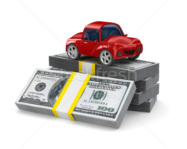 Red car on dollars. Isolated 3D image Stock photo © ISerg