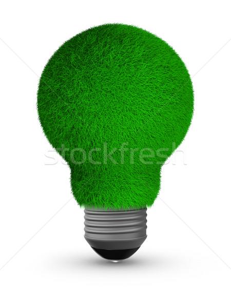 Stockfoto: Energie · besparing · lamp · witte · geïsoleerd · 3D