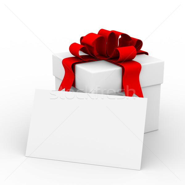 White gift box with a card. 3D image Stock photo © ISerg