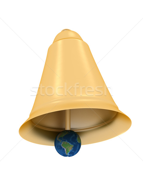 Gold hand bell on a white background. 3D image. Stock photo © ISerg