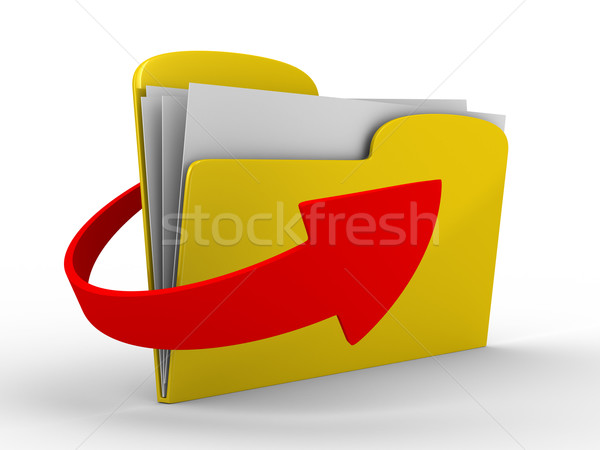 Yellow computer folder on white background. Isolated 3d image Stock photo © ISerg