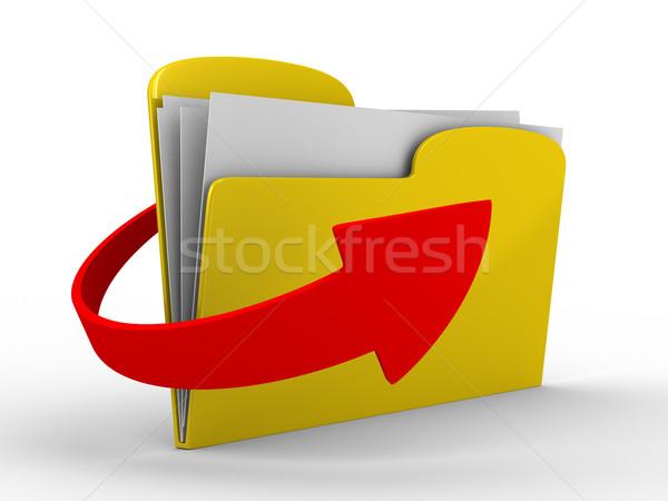Yellow computer folder on white background. Isolated 3d image Stock photo © ISerg