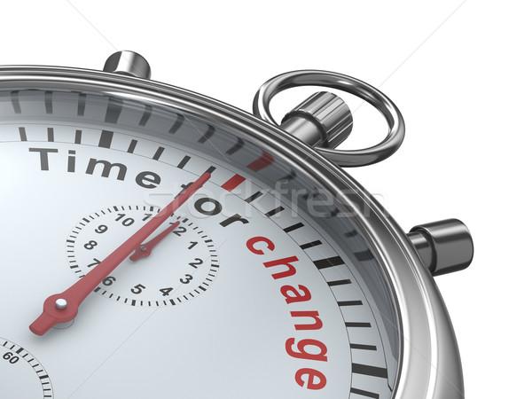 Stok fotoğraf: Zaman · değiştirmek · kronometre · beyaz · yalıtılmış · 3D