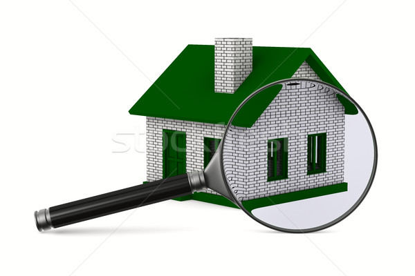 Magnifier and house on white background. Isolated 3D image Stock photo © ISerg
