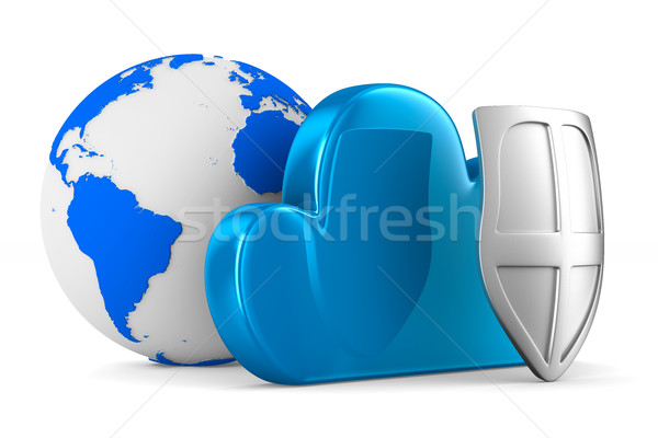 Cloud with shield on white background. Isolated 3D image Stock photo © ISerg