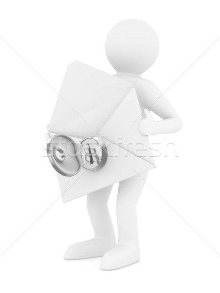 Photo stock: Courriel · blanche · isolé · 3D · image · homme