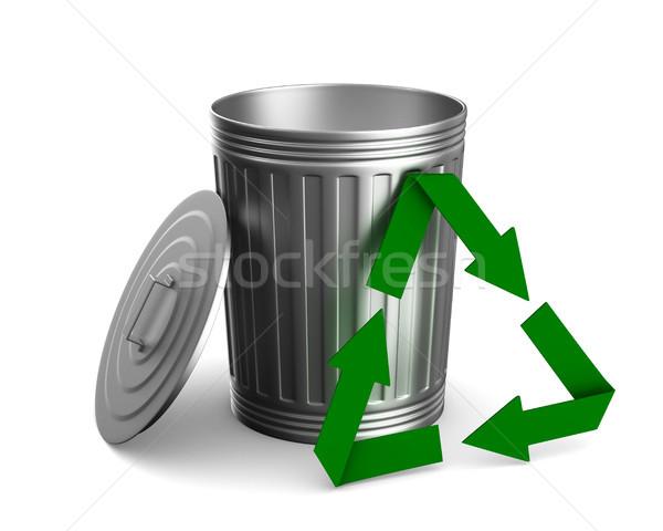 Garbage basket on white background. Isolated 3D illustration Stock photo © ISerg