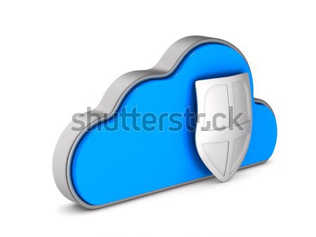Cloud and shield on white background. Isolated 3D illustration Stock photo © ISerg