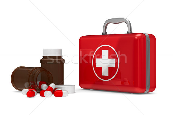 First aid kit on white background. Isolated 3D illustration Stock photo © ISerg