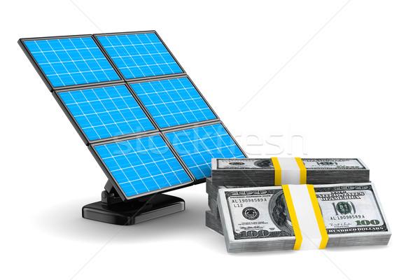 solar battery and cash on white background. Isolated 3d image Stock photo © ISerg