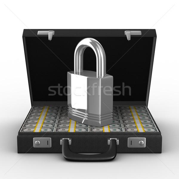Сток-фото: случае · деньги · белый · изолированный · 3D · изображение