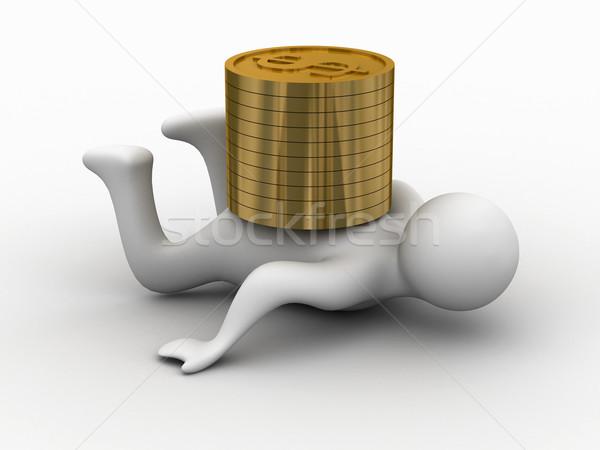 Financiële crisis geïsoleerd 3D afbeelding business geld Stockfoto © ISerg