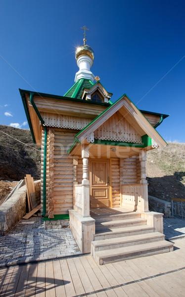 Houten kapel Rusland permanent witte berg Stockfoto © ISerg