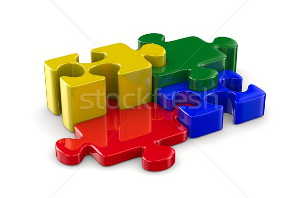 Puzzle fehér izolált 3D kép textúra Stock fotó © ISerg