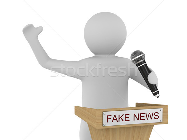 Fake news. man speaks with microphone on white background. Isola Stock photo © ISerg