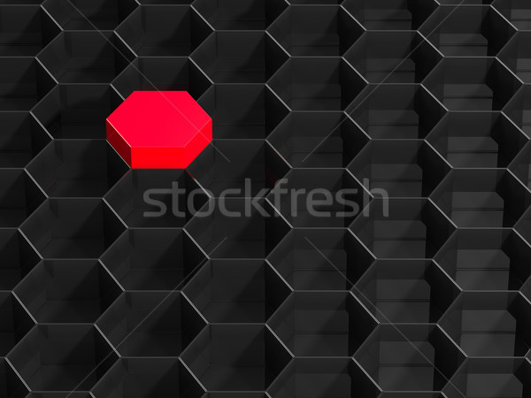 Black hexagon background with red element. 3D illustration Stock photo © ISerg