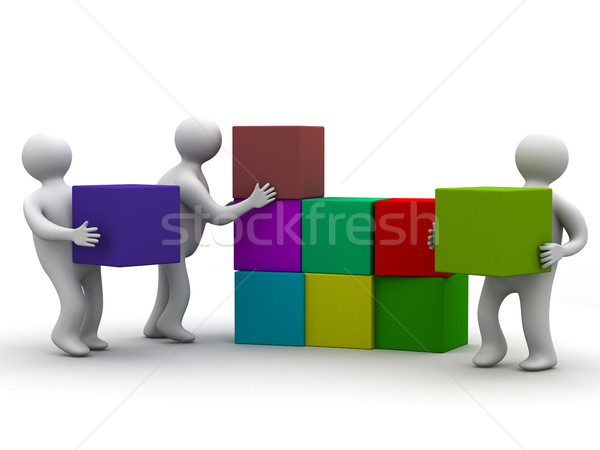 People collect puzzle. 3D image. Isolated illustrations Stock photo © ISerg
