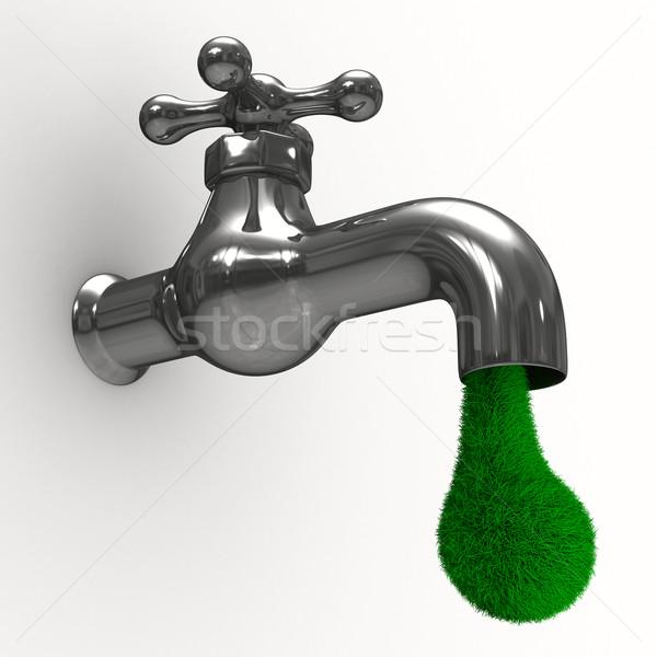 Tik witte geïsoleerd 3D afbeelding groene Stockfoto © ISerg