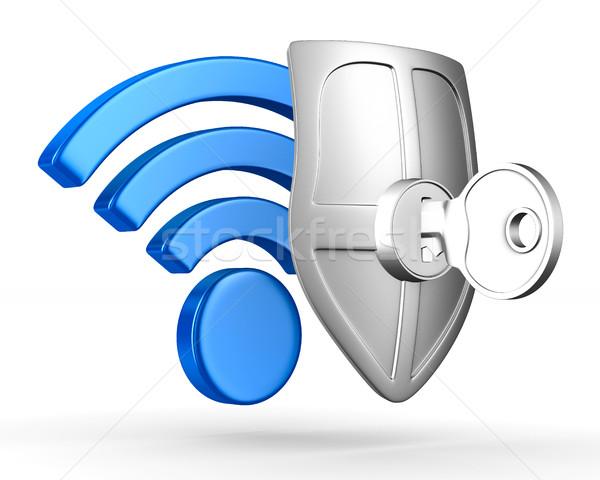 Segno wifi bianco isolato 3D immagine Foto d'archivio © ISerg