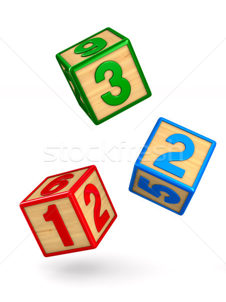 falling blocks with numbers on white background. Isolated 3D ill Stock photo © ISerg
