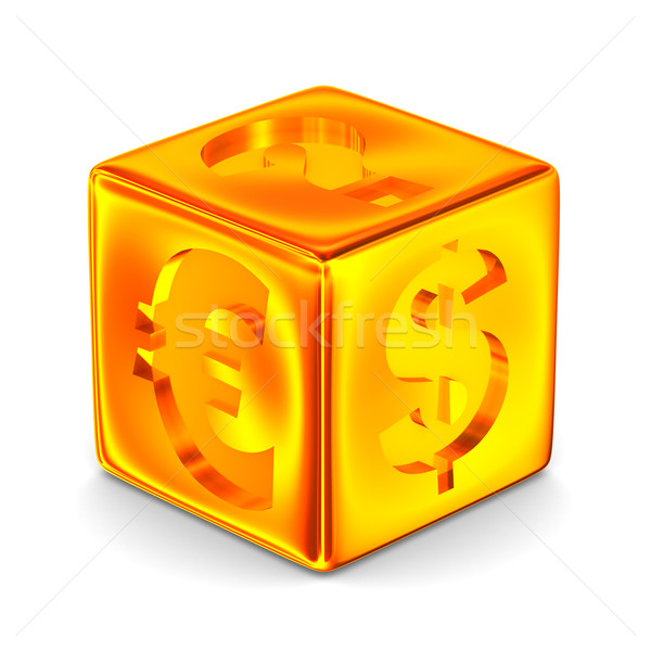 Cube with currency signs. Isolated 3D image Stock photo © ISerg
