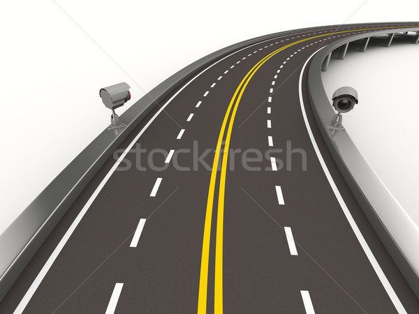 asphalted road with camera on white. Isolated 3D image Stock photo © ISerg