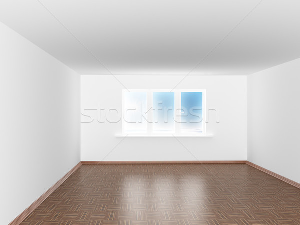 Сток-фото: пусто · белый · комнату · окна · 3D · изображение