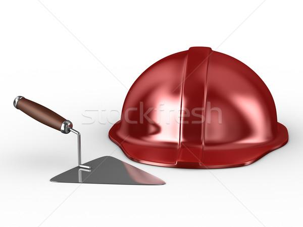 Novo construção vermelho capacete isolado branco Foto stock © ISerg
