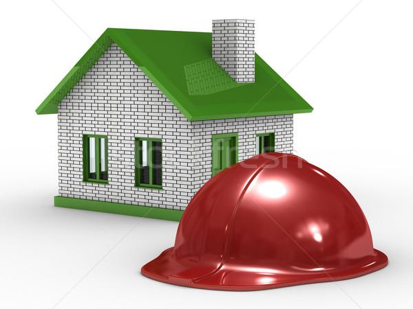 Stock fotó: Kicsi · ház · fehér · izolált · 3D · kép