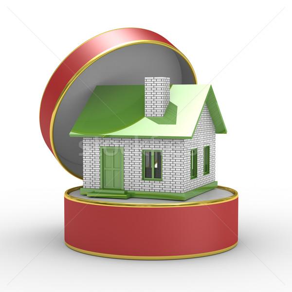 Stockfoto: Klein · huis · geschenkdoos · geïsoleerd · 3D · afbeelding