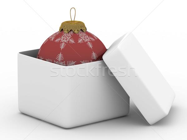 Stok fotoğraf: Açmak · kutu · top · beyaz · yalıtılmış · 3D