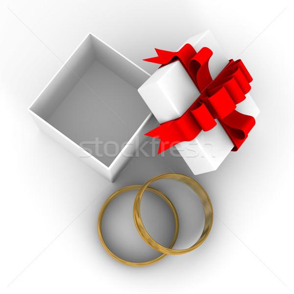 Foto d'archivio: Bianco · scatola · regalo · anelli · 3D · immagine · design