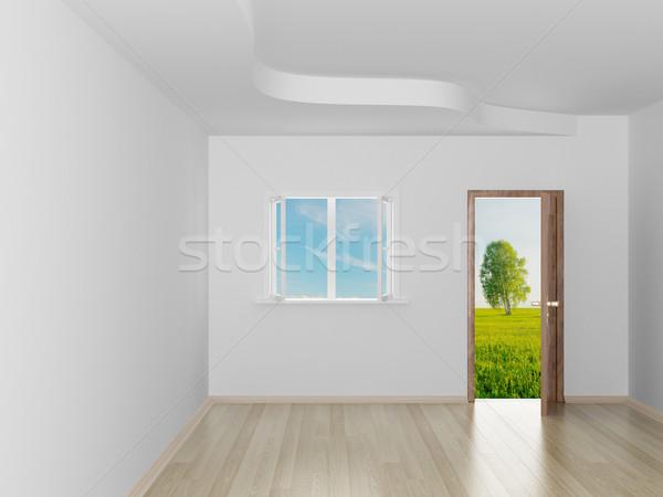の空室 風景 後ろ オープンドア 3D 画像 ストックフォト © ISerg