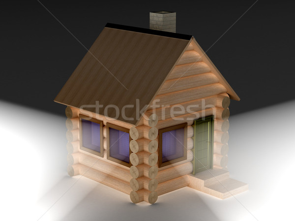 Light from windows of a wooden small house. 3D image. Stock photo © ISerg