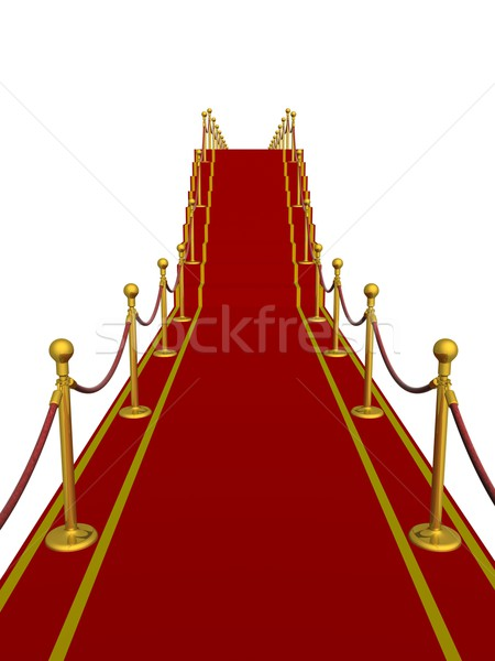 Red carpet path on a ladder. 3D image. Stock photo © ISerg