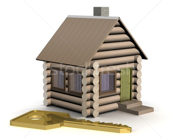 Wooden small house with a key. The isolated illustration. 3D image. Stock photo © ISerg