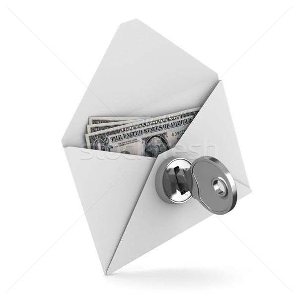 Money in envelope on white background. Isolated 3D image Stock photo © ISerg