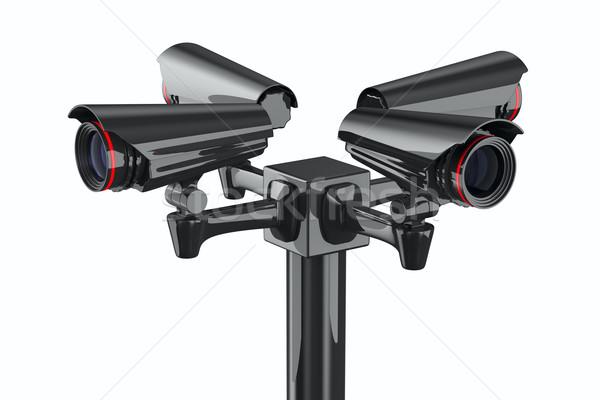 Four security camera on white background. Isolated 3D image Stock photo © ISerg