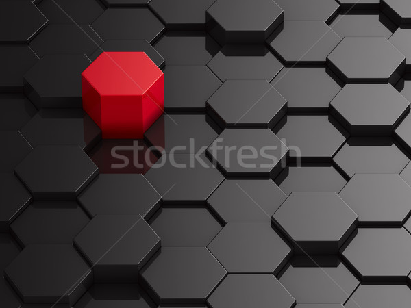Black hexagon background with red element Stock photo © ISerg