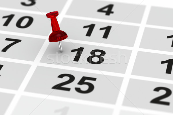 Stockfoto: Rood · pin · belangrijk · dag · kalender · 3d · illustration