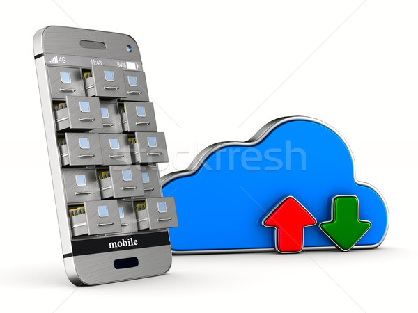 phone with filing cabinet and cloud on white background. Isolate Stock photo © ISerg