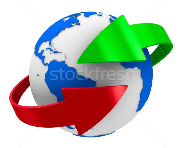 Globe and arrows on white background. Isolated 3D image Stock photo © ISerg