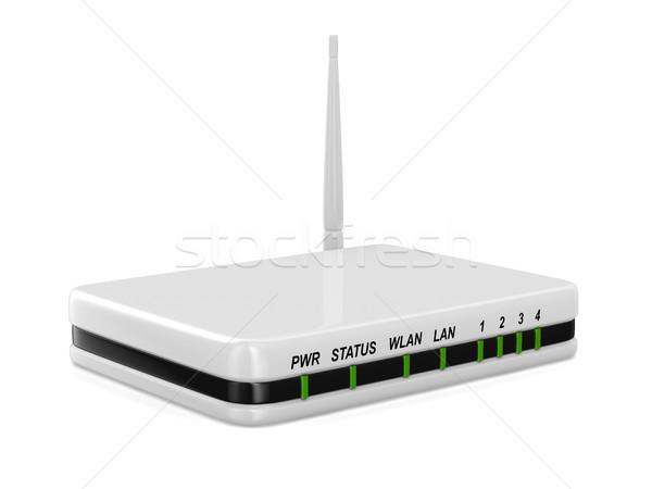 Router fehér izolált 3D kép internet Stock fotó © ISerg
