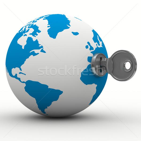 world and key on white background. Isolated 3D image Stock photo © ISerg