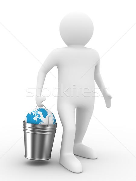 Stock fotó: Földgömb · vödör · fehér · izolált · 3D · kép