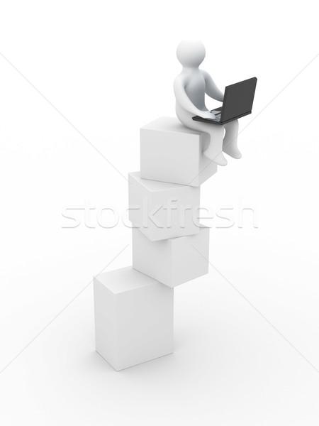 Instabil egyensúly izolált 3D kép fehér Stock fotó © ISerg