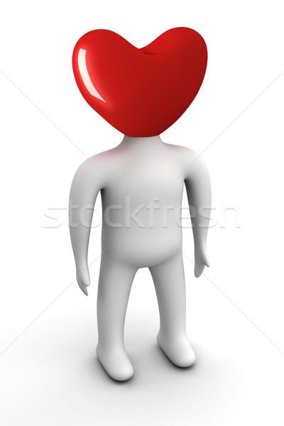 Zdjęcia stock: Głowie · formularza · serca · odizolowany · 3D · obraz