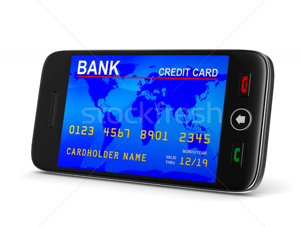 phone and credit card on white background. Isolated 3D image Stock photo © ISerg