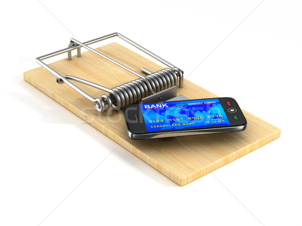 phone in mousetrap. Isolated 3D image Stock photo © ISerg