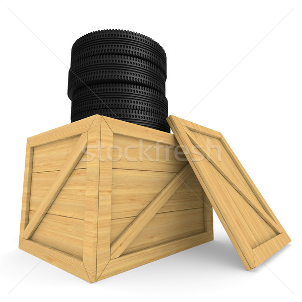 disk wheels in box on white background. Isolated 3D illustration Stock photo © ISerg